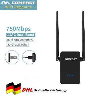 750 Mbit/s Wireless 2.4G+5GHz Wifi Repeater Mini Router WLAN Hotspot Verstärker ()