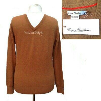NEW w/Tags Men's 100% Cashmere Jumper Enzo Mantovani V-Neck Medium Sweater Tan
