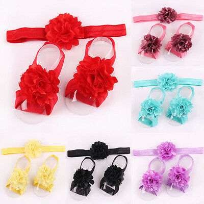 Cute Baby Girl Crib Pram Shoes Sandals Flower for Baby Feet Mesh Hair Headband