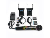 Interview Microphone Mic For DSLR & Camcorder ROWA FC2410 Wireless Stereo Pro