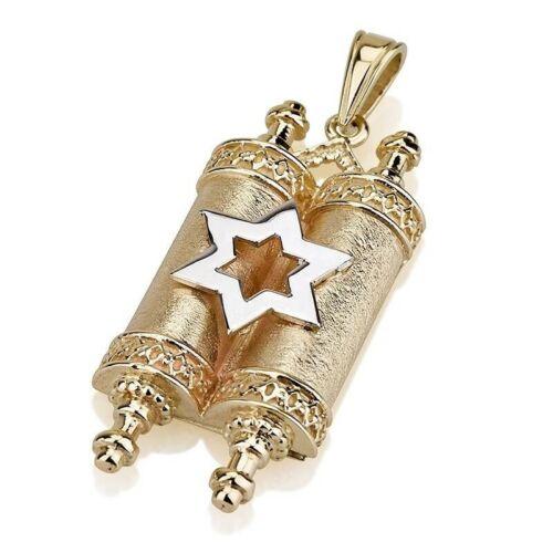 14K Yellow Gold Star of David on Torah Scroll Pendant, Jewish Necklace Pendant