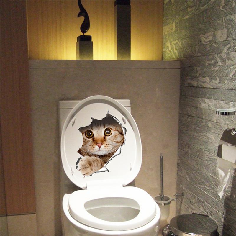 Home Decoration - Cat Sticker Wall Bathroom Decal Home Bedroom Decor Kitchen Toilet Mural Vinyl 3D