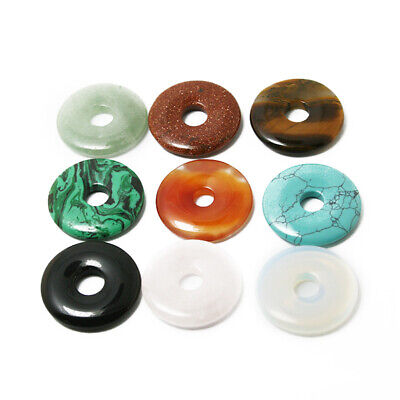 30mm Natural Stone Pendant Round Disk Beads Hole 8mm For DIY Necklace Jewelry