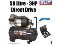 Sealey SAC5030VE Compressor 50ltr Direct Drive 3hp + SA2004KIT Air Tool Kit + 15m Hose