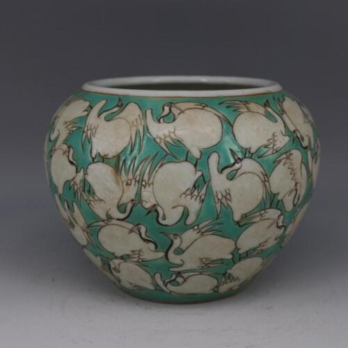 CHINESE OLD MARKED TURQUOISE FAMILLE ROSE CRANES PATTERN PORCELAIN WATER JAR