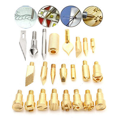 22Pcs Wood Burning Pen Tip Stencil Soldering Iron Pyrography Working Carving USA