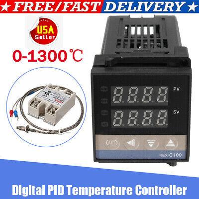 0-1300 Alarm Rex-c100 Digital Led Pid Temperature Controller Kits Ac 110v-240v