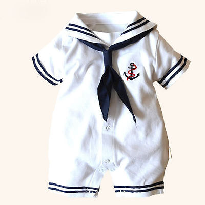 Girl Infant Costume (US Infant Kids Baby Boy Girl Anchor Sailor Costume Romper Jumpsuit Outfit)