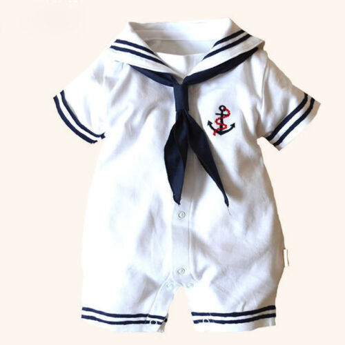 USA Kids Baby Boy Girl New Anchor Sailor Romper Jumpsuit Bod