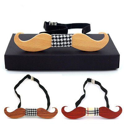 (Wooden Funny beard Bow Tie Men's Gift Fashion Wedding Party Wood bowtie Neck Tie)