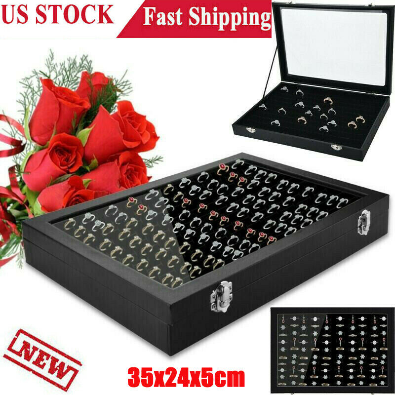 100 Slot Jewelry Organizer Box Holder Tray Case For Ring Ear