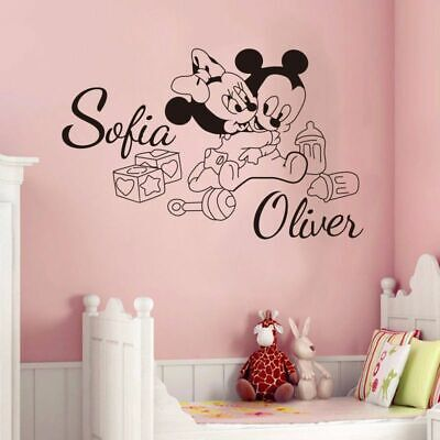 Custom For Kids (Custom Two Kids Name Mickey Mouse Minnie Baby Wall Stickers For Kids Rooms)