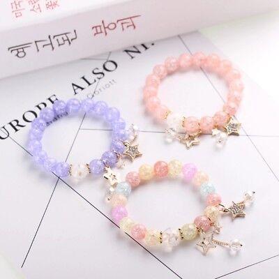 Crystal Star Charm Bracelet - Ice Crack Crystal Korean Style Charm Bracelet with Star Sets