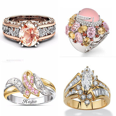 (18K Rose Gold Filled Fashion Jewelry Pink Sapphire  Wedding Hope Ring Size 6-10)