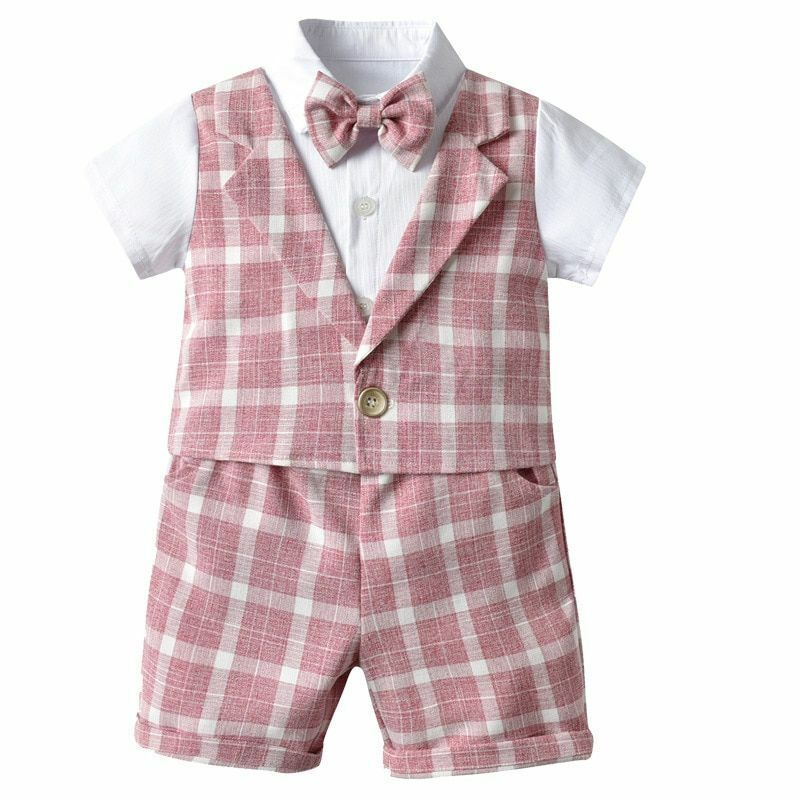Toddler Baby Boys Clothes Kids Fashion Fake Top Vest Plaid Shorts Outfit Costume