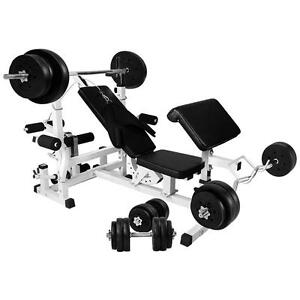 Gorilla Sports Universal Workstation with 100Kg Vinyl Weight Set