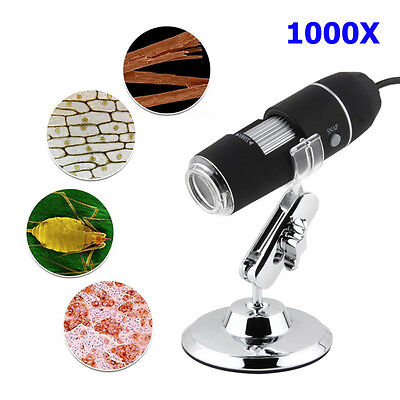 2mp 1000x 8-led Usb Digital Microscope Endoscope Zoom Camera Magnifier Stand