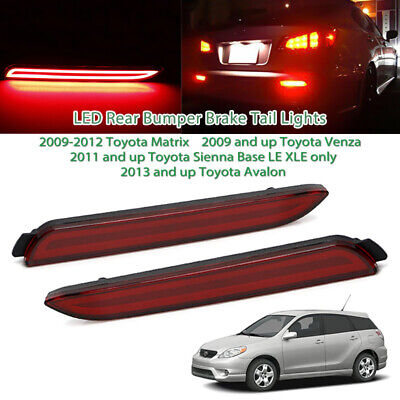 2pcs Red Lens LED Rear Bumper Reflector Lights Taillight For Toyota Sienna Venza - Lights Lenses Reflectors