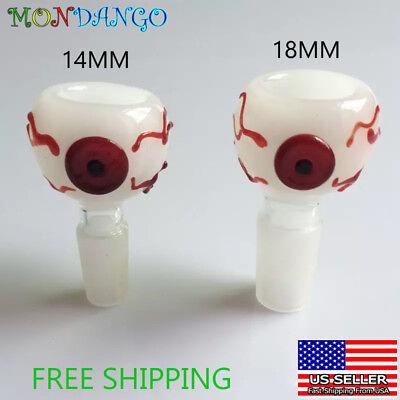 14mm 18mm Male Red Eye Glass Slide Bowl Eyeball Waterpipe White Bloodshot