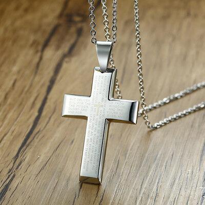 Men Women Lords Prayer Christian Bible Cross Pendant Necklace Crucifix Jewelry