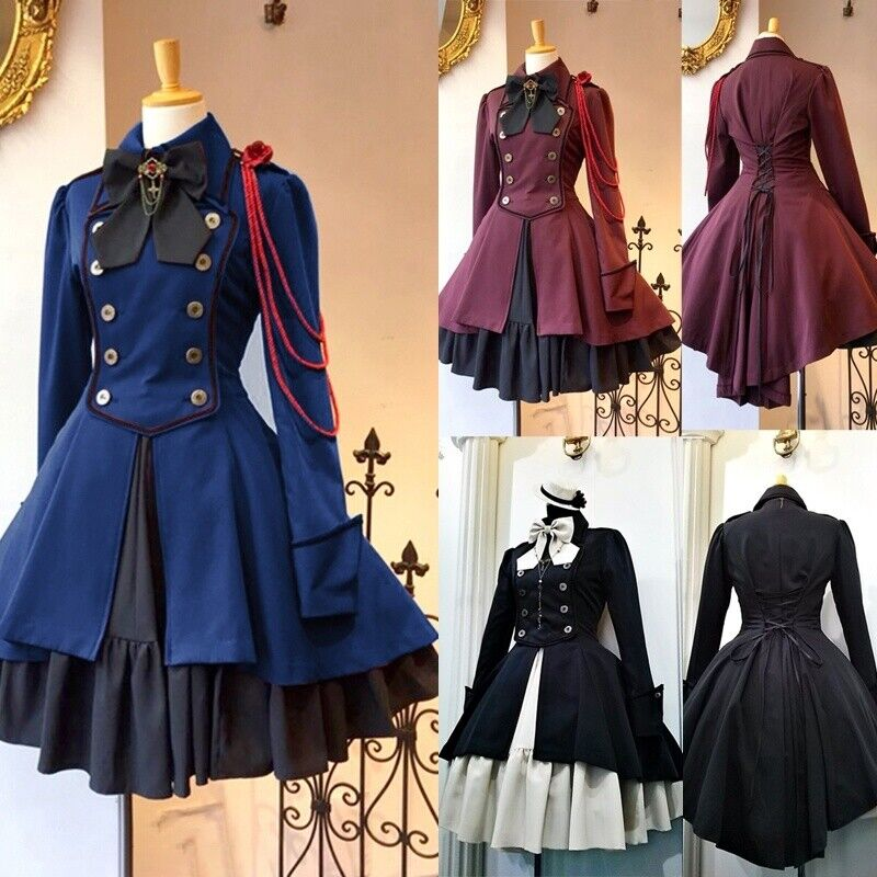 British Lolita Dress18th Chain Bow Coat Dress Ruffle Cosplay Costumes Steampunk