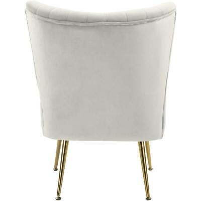 Meridian Furniture Tess Cream Velvet Accent Chair with Gold Legs 2