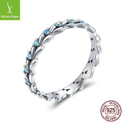 925 Sterling Silver Wheat Wave Blue Pave CZ Rings For Women Best Friends (Best Cz Rings)