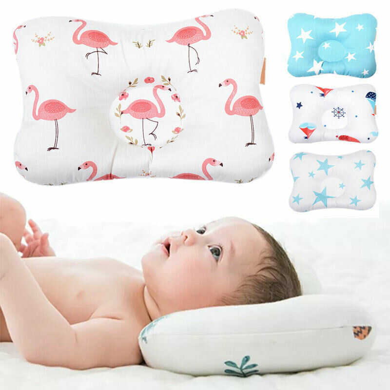 Baby Infant Newborn Pillow Prevent Flat Head Sleeping Support Anti Roll Cushion