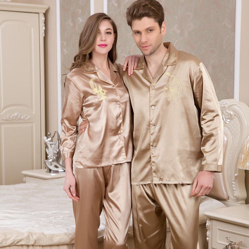 NWT 2PCS Mens Silk Satin Pajamas Sleepwear Pyjamas PJS Long Sleeve M003 M L