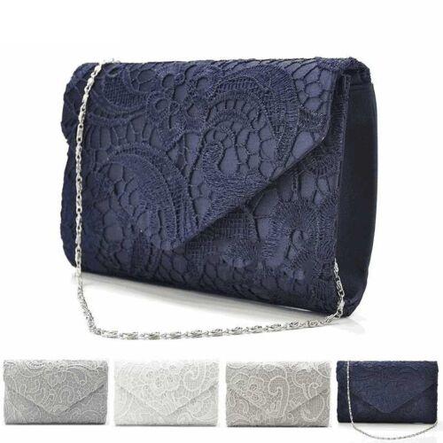 NEU Frauen Spitze Clutch Abendtasche Elegant Handtasche Brauttasche Ketttasche