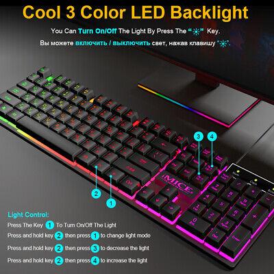 Teclado Gaming retroiluminación USB 104 teclas de goma RGB con cable para...