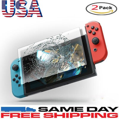 2 Pcs 9H + Real Premium Tempered Glass Screen Protector Film For Nintendo Switch