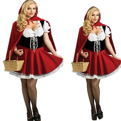 Red Hood Halloween Kostüme (Plus Size Little Red Riding Hood Costume Cosplay Adult Halloween COS Costume)