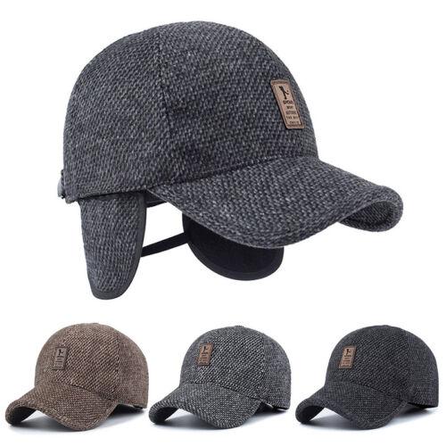 7439434af97 UK Men s Winter Baseball Cap Warm Thick Hats Ear Protectors Earflap Hat  Outdoor