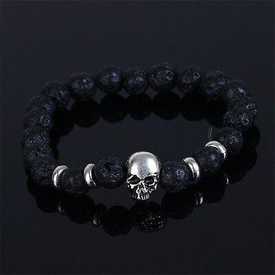 Boys Bracelets (Skull Lava Stone Elastic Bangle Bracelet Mens Gifts Boys Fashion Charms)