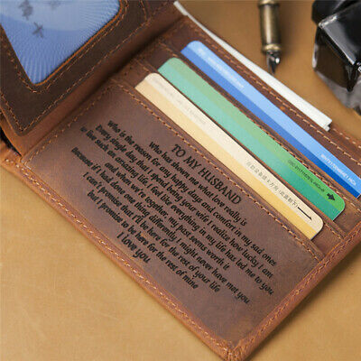 Personalized Engraved Leather Man Wallet Card Holder Best Gift for Husband