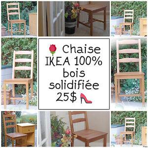 #TELUSAnnoncePourMoi Chaise IKEA 100% bois - solidifiée  25$