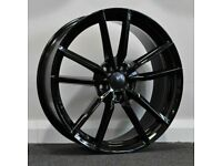 """x4 18"""" Golf R Pretoria Style Alloy Wheels VW Golf Caddy Seat Black 5x112"""