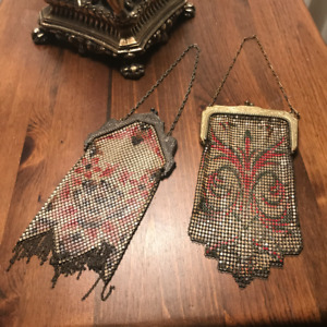 Art Deco Enamel Chainmail Metal Mesh Purses (2)