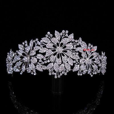 6cm High Elegant Flower Leaf Full Clear Crystal Wedding Party Pageant Prom Tiara