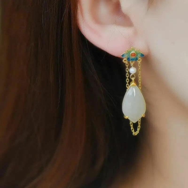 Ethnic Style Earrings S925 Silver Gilt Cloisonne Natural Jade Drop Earrings