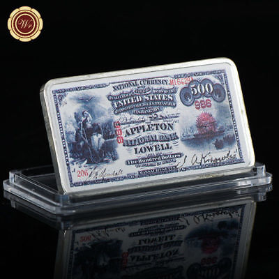 WR US 1875 $500 Collector Banknote Printed Dollar Silver Clad Bar Metal Crafts
