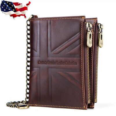 Flag Genuine Leather Chain Wallet - RFID Crazy Horse Genuine Leather Retro Mens Chain Wallet Card Union Flag Bifold