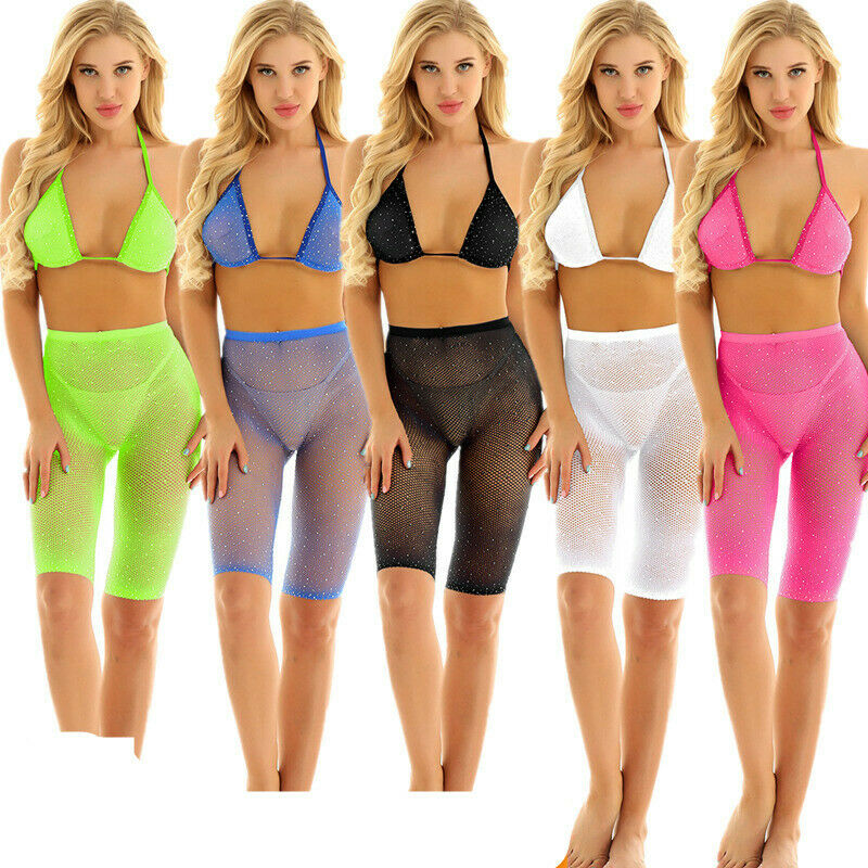 Womens Fishnet Sparkle Mesh Swimwear Beach Bra Shorts Set Sheer Bikini Cover Up