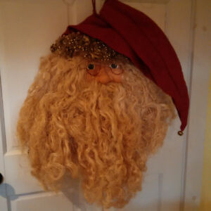 "Wall Santa - Primitive Decor   about 24"" in diameter"