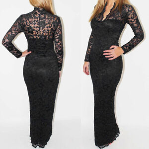 Sexy Women Scallop Neck Lace Maxi Dress Long Sleeve Evening Cocktail Prom Party