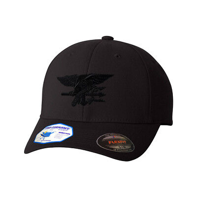 Navy Seal Black Logo Flexfit® Pro-Formance® Embroidered Cap Hat  - Navy Seal Embroidered T-shirt