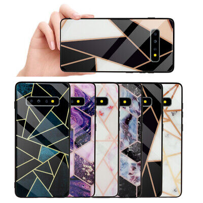 For Samsung Galaxy S10 S9 S8 Plus Marble Geometric Tempered Glass Case (Geometric Glasses Case)