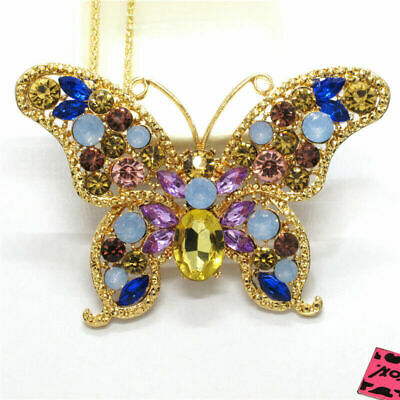 Betsey Johnson Colourful Bling Crystal Butterfly Sweater Chain Necklace 10075