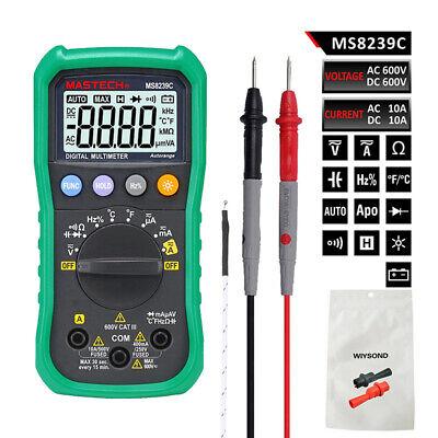 Mastech Ms8239c Digital Multimeter Dmm Auto Range Ac Dc V A C F T Meter Tester